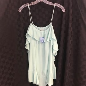 Free people mint green blouse small NEW